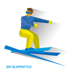 Ski slopestyle freestyle skier jumps an obstacle vector