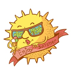 sun character with ice cream vector image vector image