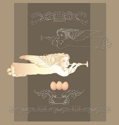 card with easter egg angel and vintage vector image