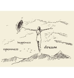 Drawn openness happiness concept sketch vector image vector image