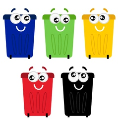 Funny colorful recycle bin mascots vector image vector image