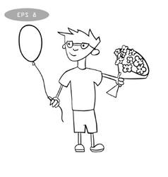litte boy with balloon and bouquet of flowers vector image vector image