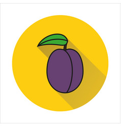 plum with leaf simple icon on white background vector image