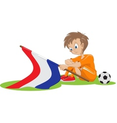 Sad holland soccer fan cartoon vector