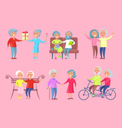 smiling older people isolated on pink vector image