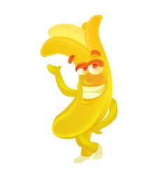 Banana Cute fruit character isolated on white vector image