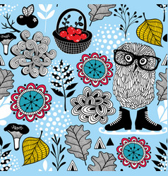 blue seamless pattern with owl in eyeglasses vector image vector image