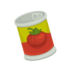 cartoon canned strawberry in bright container vector image