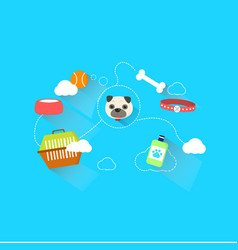 Dog link with accessories and toy with dash line vector