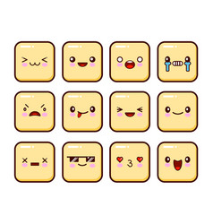 great set of yellow emotions emoji for web anger vector image vector image