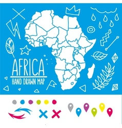 Hand drawn Africa travel map with pins and doodles vector image vector image