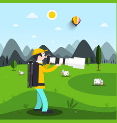landscape photographer with big telephoto lens vector image