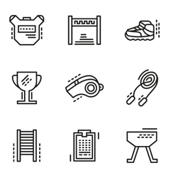 Physical education simple line icons vector image vector image