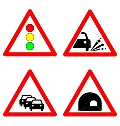 Set of traffic signs Traffic lights gravel road vector image