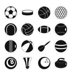 sport balls icons set flat style vector image