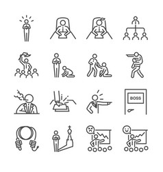 boss line icon set vector image