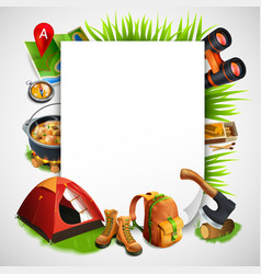 camping realistic frame vector image vector image