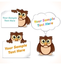 Cartoon character owl showing blank banners vector