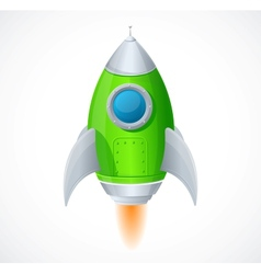 Comic cartoon rocket space ship vector image