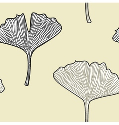 Ginkgo seamless interior wallpaper in retro style vector image