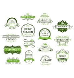 Green labels and banners vector image vector image