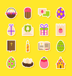 happy easter holiday stickers vector image vector image
