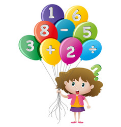 little girl and balloons with numbers vector image