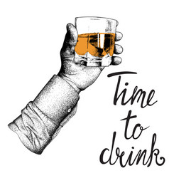 male hand in shirt raises glass vector image