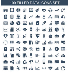 100 data icons vector