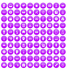 100 government icons set purple vector