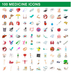 100 medicine icons set cartoon style vector