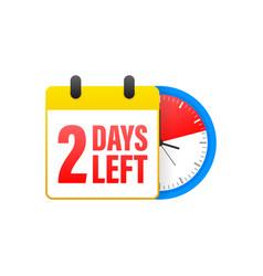 2 days left calendar clock icon symbol vector