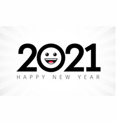 2021 happy new year emoji icon vector image