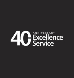 40 year anniversary excellence service template vector