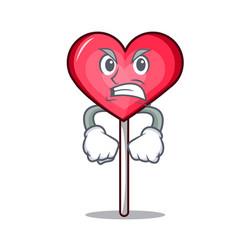 Angry heart lollipop mascot cartoon vector
