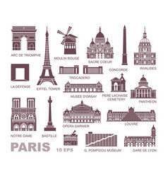 architectural and historical sights paris set vector image