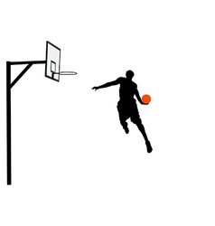 Basketball player slam dunking vector