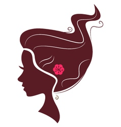 Beautiful brown hair silhouette isolated on white vector