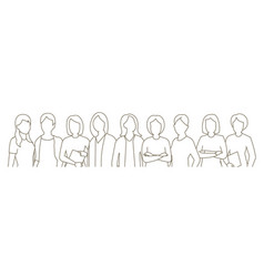 big set business womens group lady management vector image