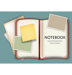 Blank notebook or diary memo notepad paper and vector