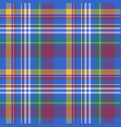Blue check plaid tartan seamless fabric texture vector