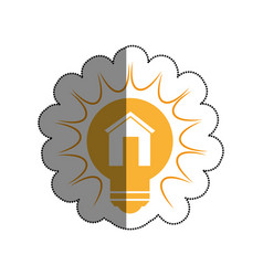 bulb light with house drawing icon vector image