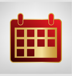calendar sign red icon on vector image