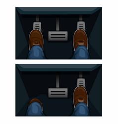 Car gas pedal comparison in matic manual model vector