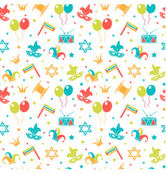 carnival seamless pattern purim repetitive vector image