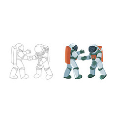 cartoon astronauts meeting and handshake in space vector image
