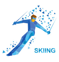 Cartoon skier with blue patterns running downhill vector