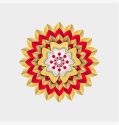chinese flower with red and golden stripes vector image