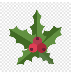 christmas red berry icon flat style vector image