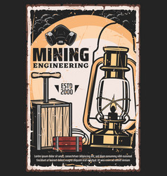 Coal mining miner engineering tools retro poster vector